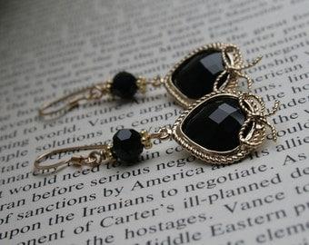 Jet Black Faceted Glass Bow Earring in Gold Little Black Dress, Bezel Set