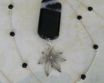 Black & White Agate, Sterling Japanese Maple Leaf Long Necklace