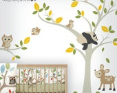 Bird Tree Wall Decal - Owl Tree Wall Sticker for Baby Nursery - Forest Friends Wall Decal - 0041