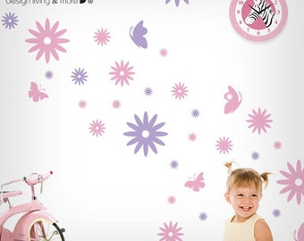 Wall Decal with Flowers & Butterflies - 0017