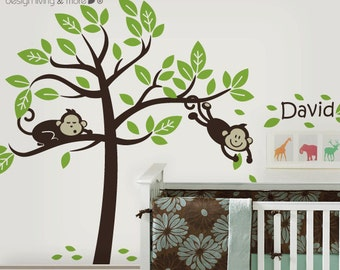 Personalized Children Wall Decals with Monkey Tree - 0044