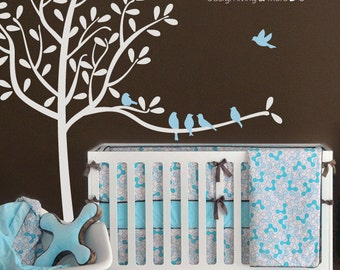 Nursery Tree Wall Decal with Birds - Children Wall Stickers - 0049