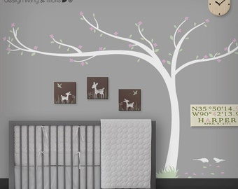 0071- Cherry Blossom Tree Decal - Office / Home Wall Art - Modern Tree Decal - Nursery Wall Decals - Children Wall Stickers