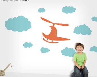 Kids Wall Decals with Clouds & Helicopter - Children Playroom and Baby Nursery - 0069