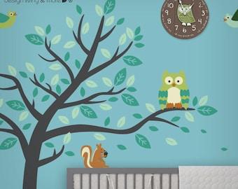 Nursery Wall Decal - Owl Tree Decal - Forest Friends Wall Decal - Animals Wall Decal - Children Wall Art - Modern Nursery Wall Decal - 0075