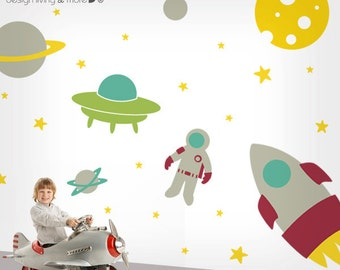 Outer Space Wall Decal - Large Wall Decal - Rocket Decal - Children Wall Decal - 0083