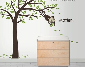 Kids Wall Decal - Monkey Tree Wall Decal with Personalized Sticker