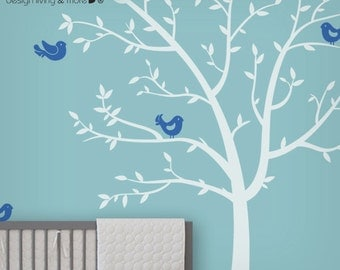 White Tree Wall Decal - Baby Nursery Decor - Children Wall Decal - Kids Room Decor - LSWD-0074