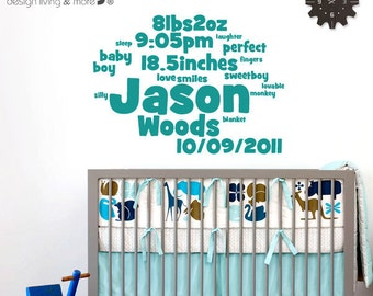 Baby Stats Art - Wall Decal - Children Wall Decals - Nursery Wall Decal - Baby Wall Stickers - Personalized  Wall Art - New Born Art - 0070