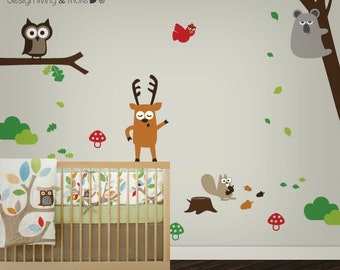Children Wall Decal - Owl Tree Decal - Tree Decal - Forest Friends - 0042