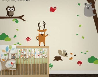 Forest Animals Wall Decal . Baby Nursery Wall decal . Owl Tree Wall Stickers . Koala Wall Decal . LSWD-0042