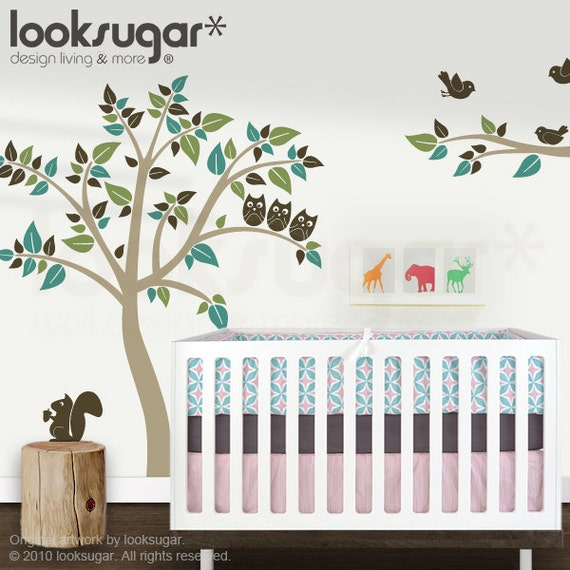 Baby Nursery Owl Tree Wall Decal with Birds - 0040