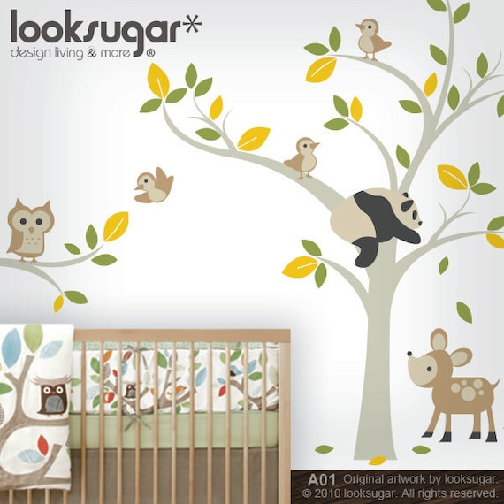 Owl Tree Wall Decal - Forest Animals Stickers - Panda & Deer - Bird Tree Wall Decal - 0041