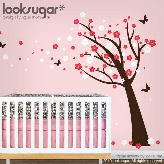 Children Wall Sticker - Cherry Blossom Tree Wall Sticker -Tree Wall Decal - 0037