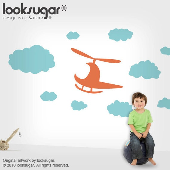 Children Wall Stickers with Clouds & Helicopter for Baby Nursery - 0069