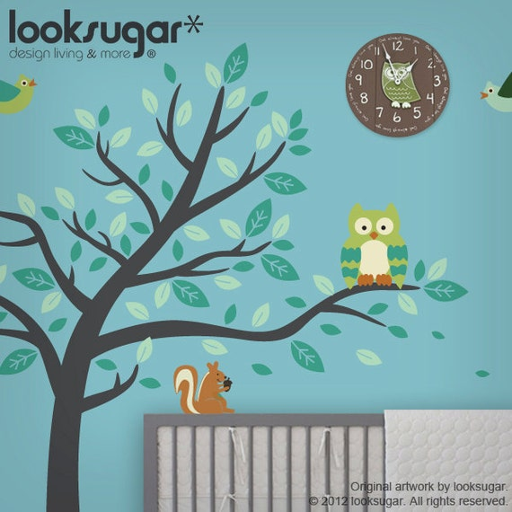 Nursery Wall Decal - Owl Tree Decal - Forest Friends Wall Decal - Animals Wall Decal - Children Wall Art - Modern Nursery Wall Decal - 0075