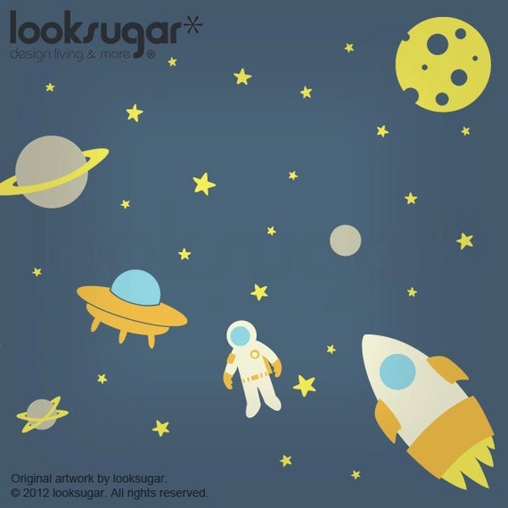 ... Wall Decal - Large Outer Space Wall Decal - Kids Wall Decal - 0083