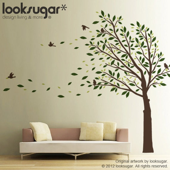 Tree wall decal wall sticker elegant modern home by looksugar - Decorative wall sticker ...