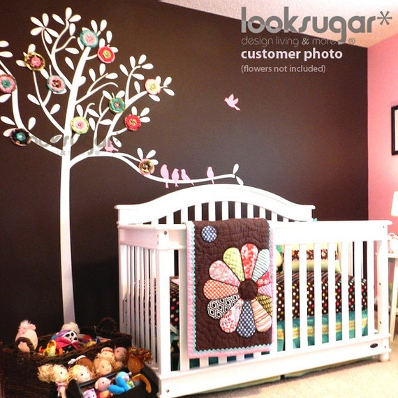 White Tree Wall Decal - Tree Decal - Vinyl Wall Decal - Large Tree Wall Decal - Tree Wall Stickers - Children Wall Stickers - 0049