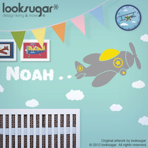 Personalized Children Wall Decal with Airplane - Kids Wall Art - Nursery Wall Stickers - 0090