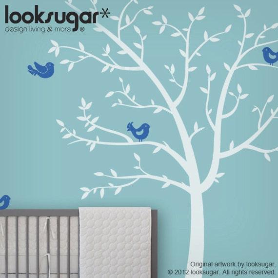 Bird Tree Decals - Baby Nursery Wall Sticker - Children Wall Art - 0074