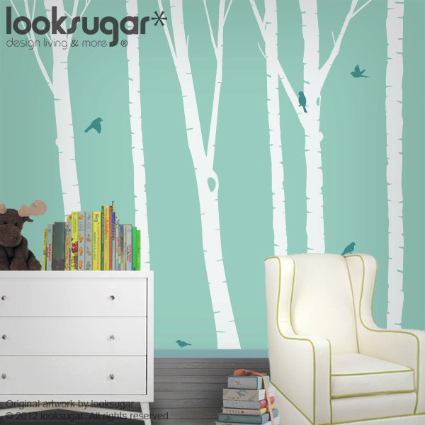 Birch Tree Decals Baby Nursery Wall Decals By Looksugar On