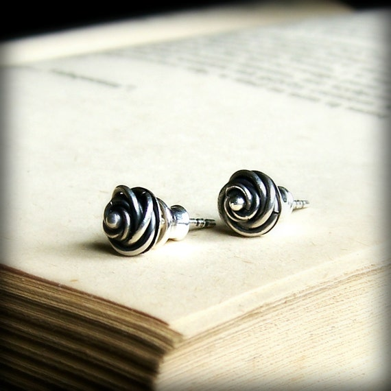 Silver rose bud earring studs, sterling silver post earrings, dainty tiny flower studs, rustic earrings, metalsmith metalwork