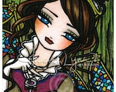 ACEO Steampunk Key Stained Glass Fairy Fantasy Art Card Miss Mirabelle Atc Open Edition