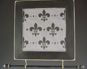 Fleur de Lis On Black Distressed Frame Earring and Jewelry Holder