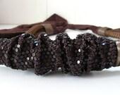 vintage belt / brown shimmer mesh & leather sash belt  ... fits 24-40