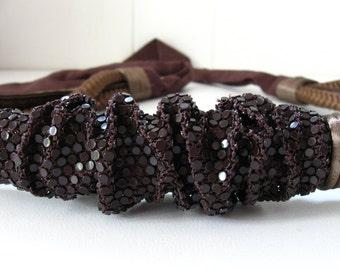 1970s belt brown shimmer mesh & leather rope sash belt boho textural bohemian  ... fits 24-40