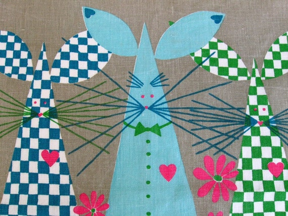 1950's vintage Tea Towel -.- Three Happy Mice -.- designed by Louise Fougstedt, made in Sweden