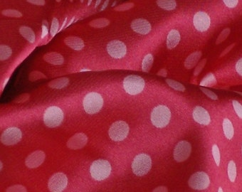 Satin Print Fabric, Wide, Light Pink on Pink Polka Dots, Lightweight Polyester, half yard, 4-oz, B13