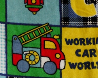 Quilting Flannel Print Fabric, Blue, Red, Green and Yellow, Squares, Construction and Traffic, half yard, 4-oz, B5