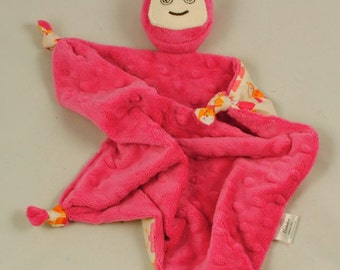 "Pink Robot Lovey Blanket, 12""x12"" Security Blanket, Soft Baby Toy, Fuchsia Minky Robot Blankie for a Baby Girl"