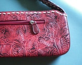 Womens Vintage Purse Red Tooled Clutch