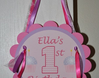 1st Birthday Party Door Sign - Cupcake Theme - Pink and Purple - Personalized