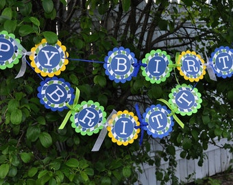 Argyle Birthday Banner - Boys Birthday Decorations - Argyle Golf Theme - Personalized Birthday Decorations