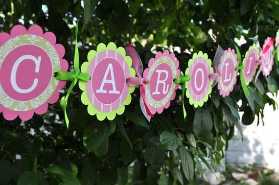 Girls Baby Shower Banner or Birthday Banner - Baby Shower Decorations - Birthday Decorations - Pink and Green