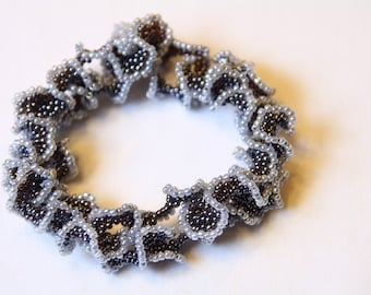 Beadwoven bracelet, beadwork curly black grey lace handmade gift for her