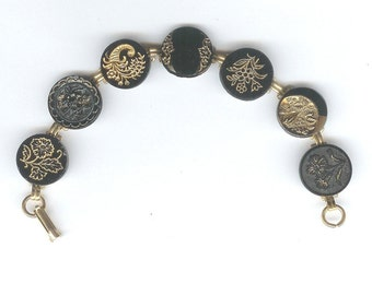 1800s Black Glass Button Bracelet
