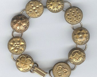 1800s Gilt Button Bracelet