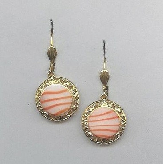 Mid 1900s Slag Glass Button Earrings
