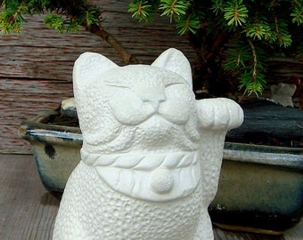 Maneki Neko Lucky Cat Japanese Bobtail Garden Sculpture by Tyber Katz