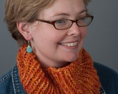 SALE Orange Cowl, Neck Warmer, Circle Scarf - Citrus Sunrise - Handknit Wool, Bamboo, Silk - Soft, Light, & Fluffy