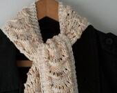 """Cream Lace Scarf, Handknit Bamboo and Cotton in Art Deco Arches - """"Seashore Scarf"""" - Peach, Tan, Cream"""