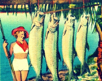 Vintage Florida art 11x14 or 16x20, beach art, retro Florida art, vintage girl with fish photograph, aqua red