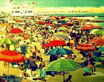 Umbrella Art, Bathroom Decor Art, Bathroom Art Mom Gifts, Beach Umbrella Print, Wife Gifts, Vintage Art 8x10 Coastal Wall Art, Coastal Art