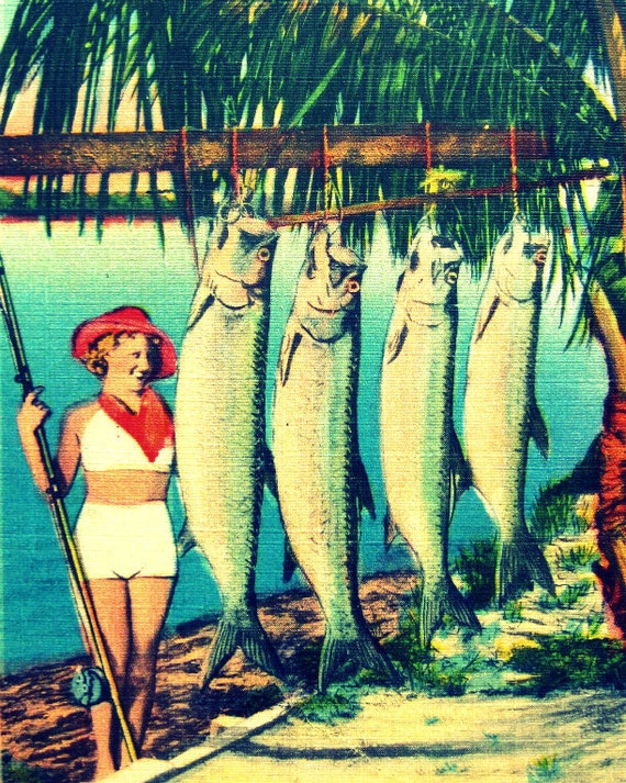 Retro Florida art, aqua beach art, fathers day fishing gift, fathers day fishing art, fish art, aqua home decor, 11x14 or 16x20 photograph