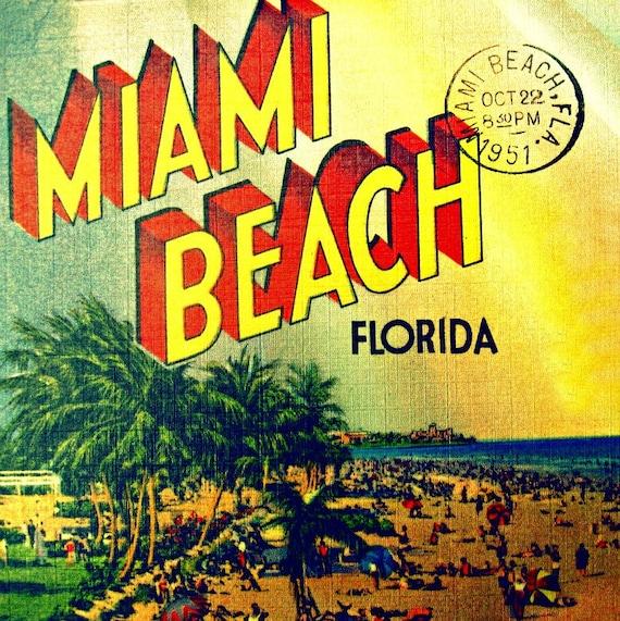 MIAMI BEACH Photograph 12x12 Art Photo Retro By VintageBeach